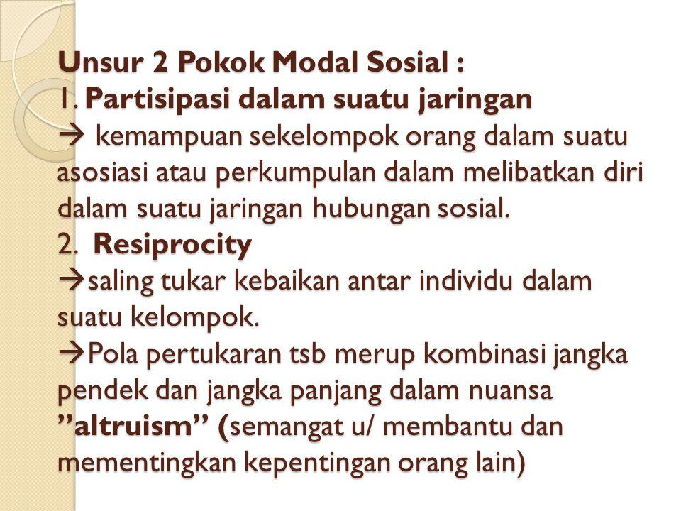Unsur 2 Pokok Modal Sosial : 1.