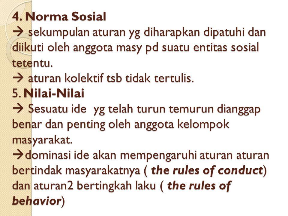 4. Norma Sosial  sekumpulan aturan yg diharapkan dipatuhi dan diikuti oleh anggota masy pd suatu entitas sosial tetentu.  aturan kolektif tsb tidak
