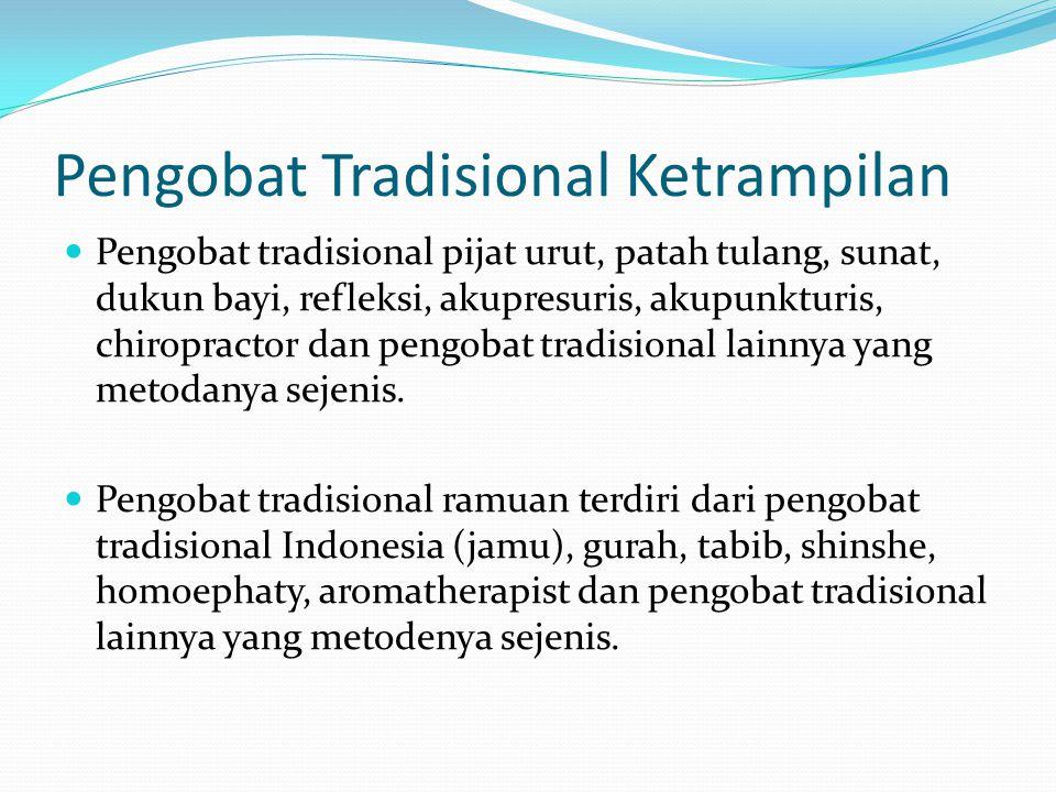17 KLASIFIKASI BATTRA (Pasal 59 ayat 1 UU 36/2009) Battra akupunktur, chiropraksi, battra bekam, Pnta-kecantikan Dikelompokkan berdasarkan metode yang