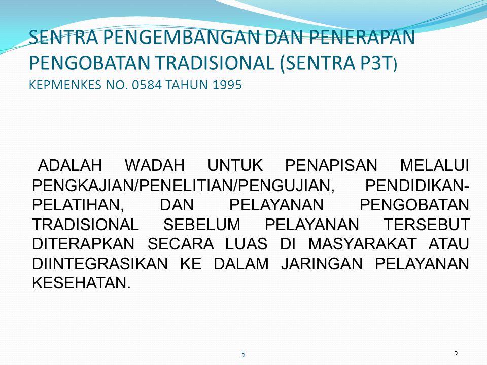5 5 SENTRA PENGEMBANGAN DAN PENERAPAN PENGOBATAN TRADISIONAL (SENTRA P3T ) KEPMENKES NO.