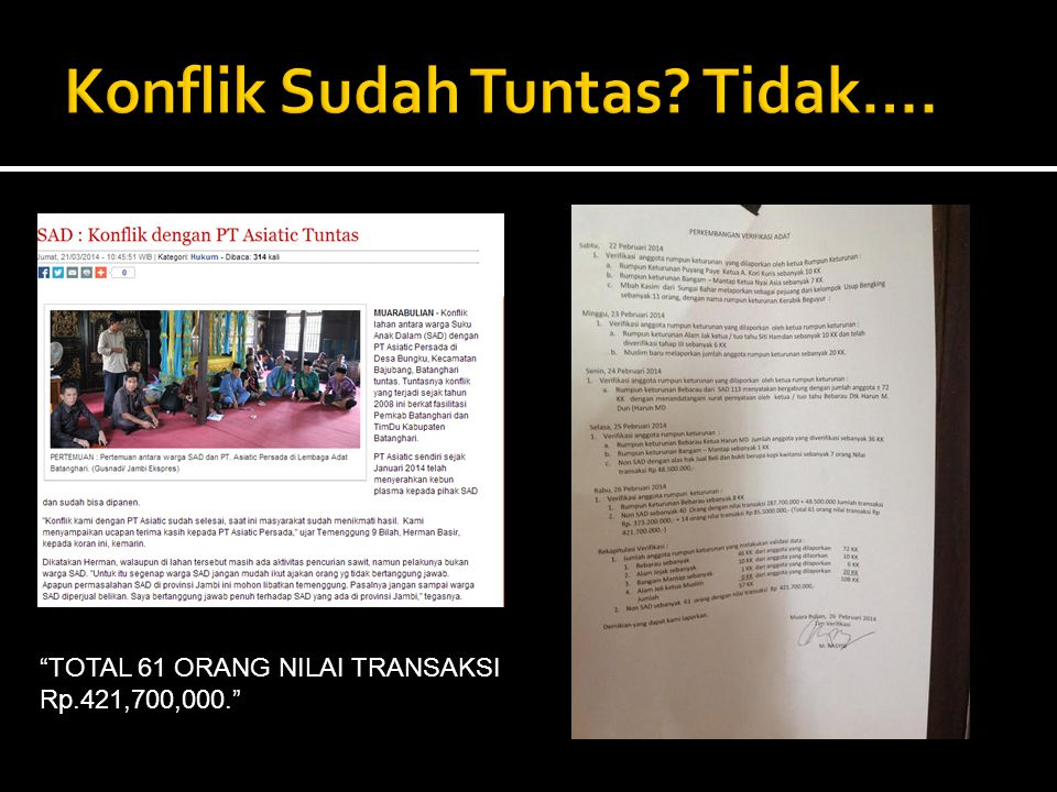 TOTAL 61 ORANG NILAI TRANSAKSI Rp.421,700,000.