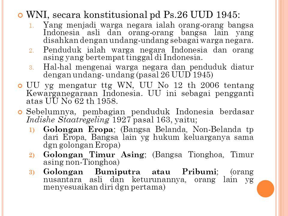 WNI, secara konstitusional pd Ps.26 UUD 1945: 1.