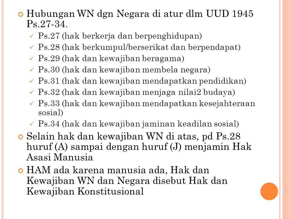 Hubungan WN dgn Negara di atur dlm UUD 1945 Ps.27-34.