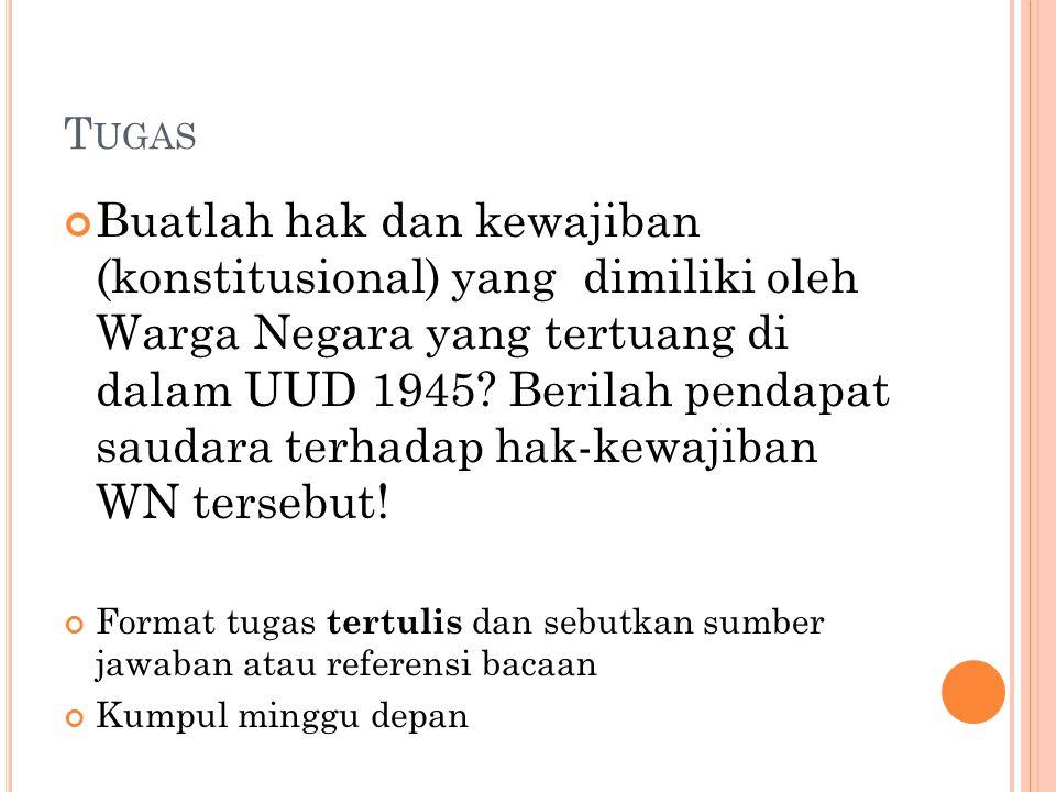 T UGAS Buatlah hak dan kewajiban (konstitusional) yang dimiliki oleh Warga Negara yang tertuang di dalam UUD 1945.