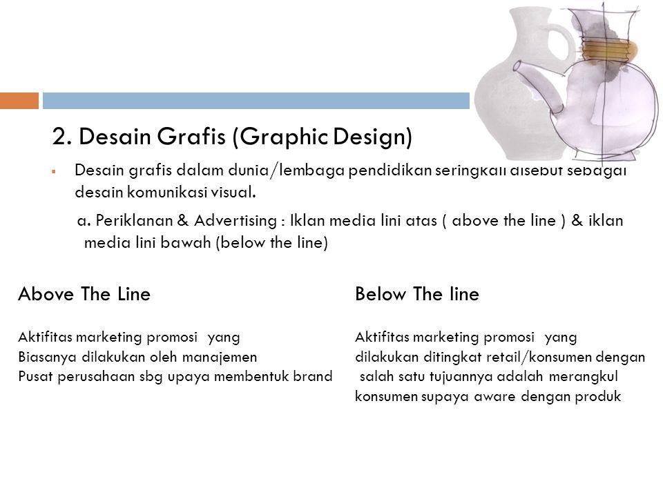 2. Desain Grafis (Graphic Design)  Desain grafis dalam dunia/lembaga pendidikan seringkali disebut sebagai desain komunikasi visual. a. Periklanan &