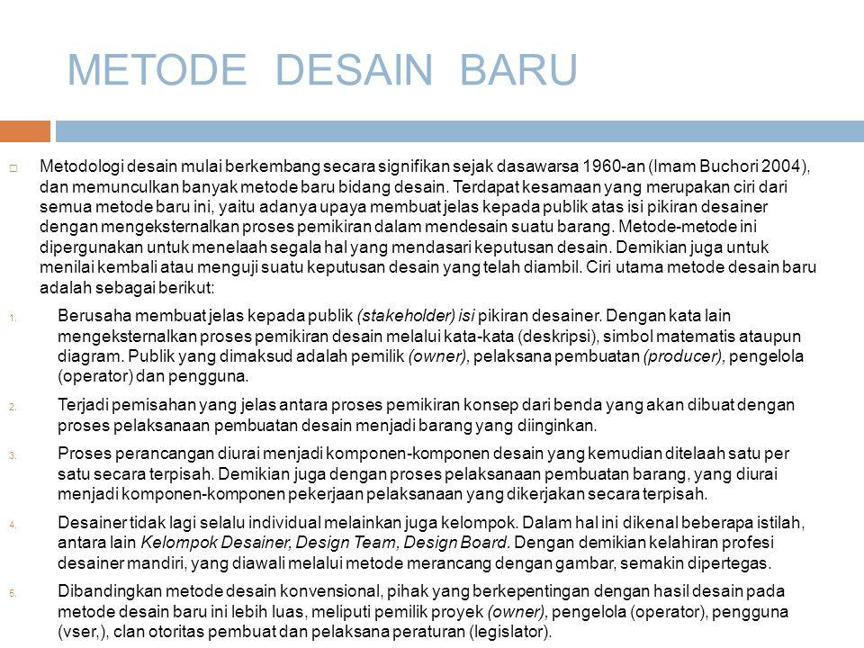 METODE DESAIN BARU  Metodologi desain mulai berkembang secara signifikan sejak dasawarsa 1960-an (Imam Buchori 2004), dan memunculkan banyak metode baru bidang desain.