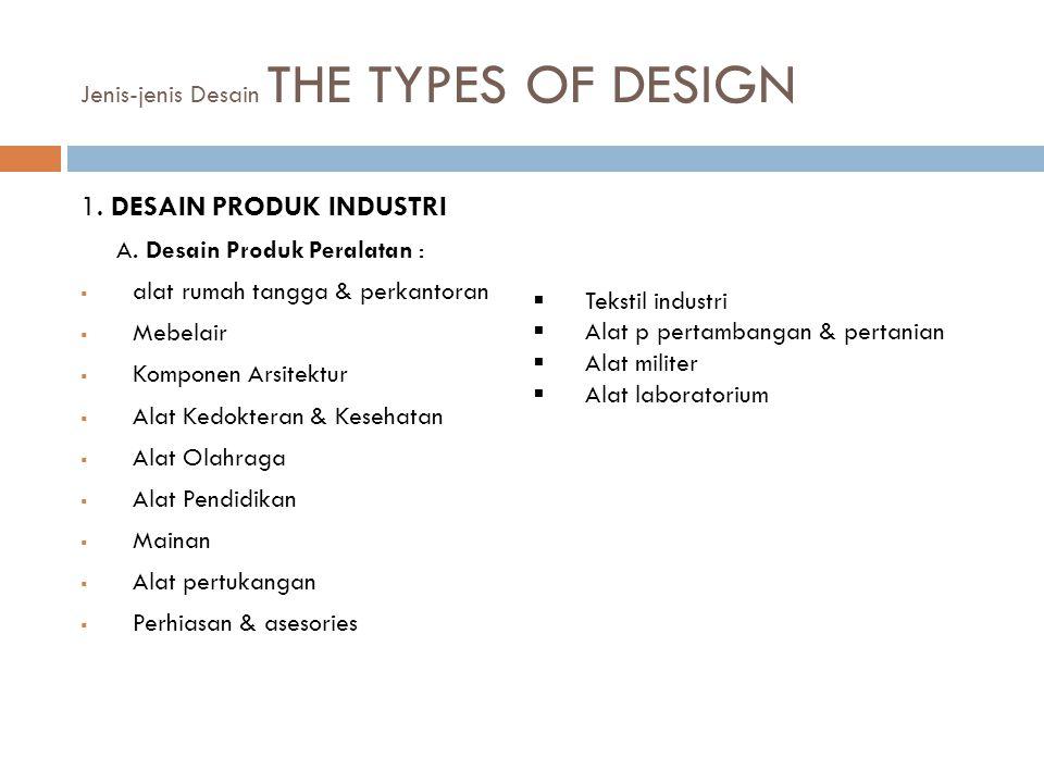 Jenis-jenis Desain THE TYPES OF DESIGN 1.DESAIN PRODUK INDUSTRI A.
