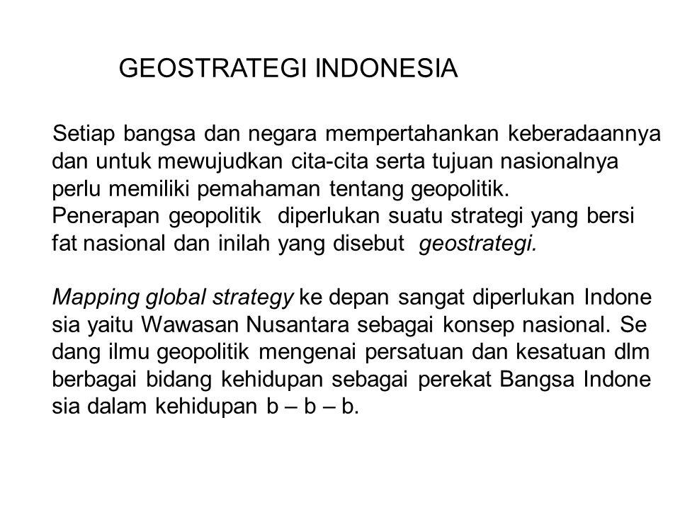 GEOSTRATEGI INDONESIA Setiap bangsa dan negara mempertahankan keberadaannya dan untuk mewujudkan cita-cita serta tujuan nasionalnya perlu memiliki pem