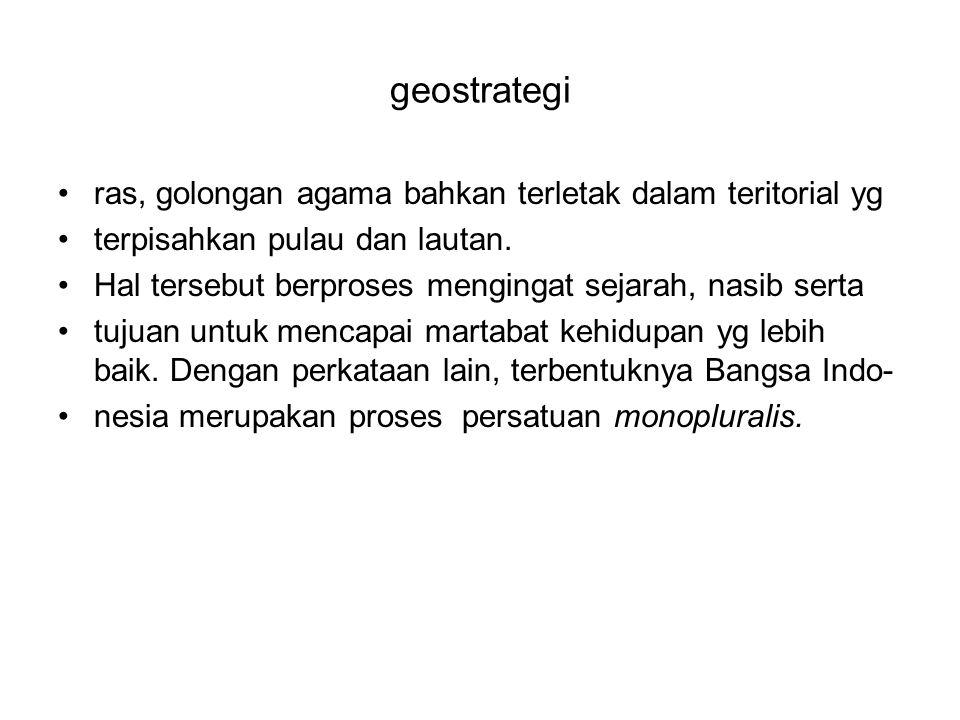 Geostrategi Sehubungan dengan itu ada lima prinsip nasionalisme Indonesia adalah sbb 1.