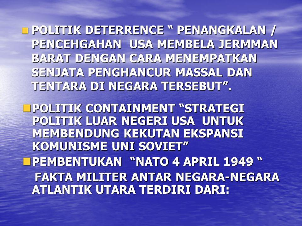 USA, INGGRIS, KANADA, PERANCIS, BELANDA, BELGIA, ITALIA, PORTUGAL, NORWEGIA, LUXEMBURG, DENMARK TEORI DOMINO /DOMINO EEECT APABILA SATU NEGERA TELAH MENGANUT IDEOLOGI TERTENTU NEGARA-NEGARA TETANGGANYA SECARA OTOMATIS AKAN MANGANUT IDEOLOGI YANG SAMA UNI SOVIET MELAKUKAN EKSPOR IDEOLOGI