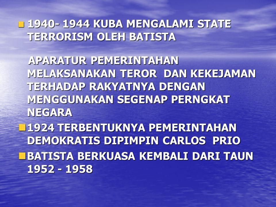 1940- 1944 KUBA MENGALAMI STATE TERRORISM OLEH BATISTA APARATUR PEMERINTAHAN MELAKSANAKAN TEROR DAN KEKEJAMAN TERHADAP RAKYATNYA DENGAN MENGGUNAKAN SE