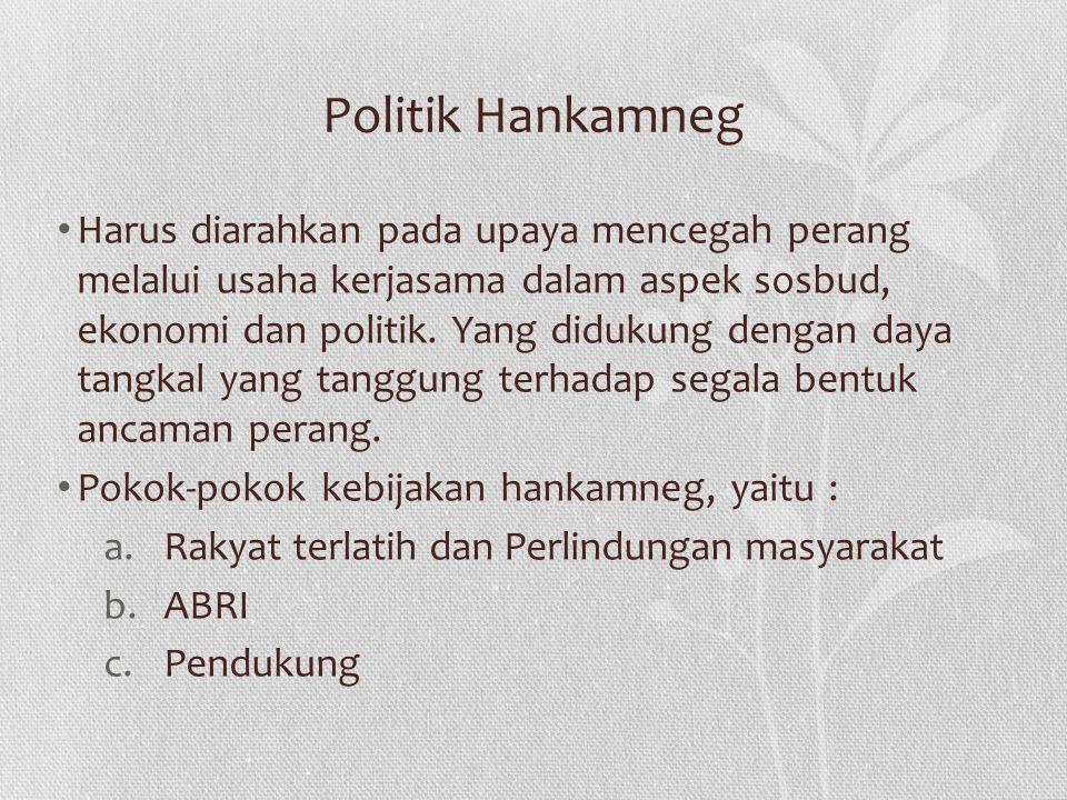 Politik Hankamneg Harus diarahkan pada upaya mencegah perang melalui usaha kerjasama dalam aspek sosbud, ekonomi dan politik. Yang didukung dengan day