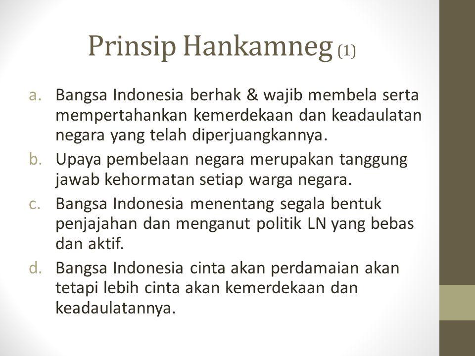 Prinsip Hankamneg (1) a.Bangsa Indonesia berhak & wajib membela serta mempertahankan kemerdekaan dan keadaulatan negara yang telah diperjuangkannya. b