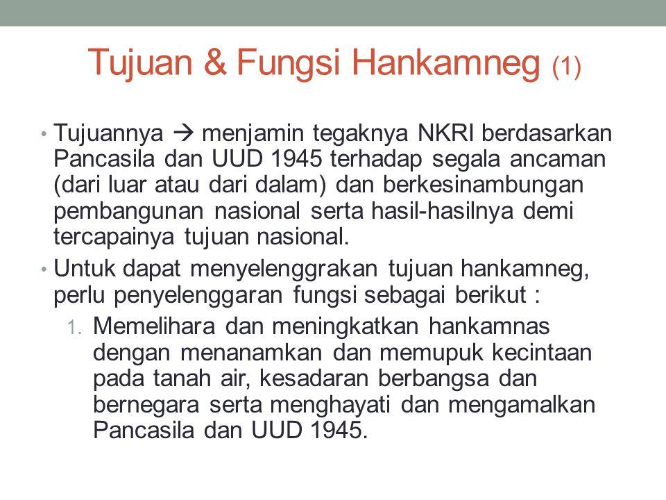 Tujuan & Fungsi Hankamneg (1) Tujuannya  menjamin tegaknya NKRI berdasarkan Pancasila dan UUD 1945 terhadap segala ancaman (dari luar atau dari dalam