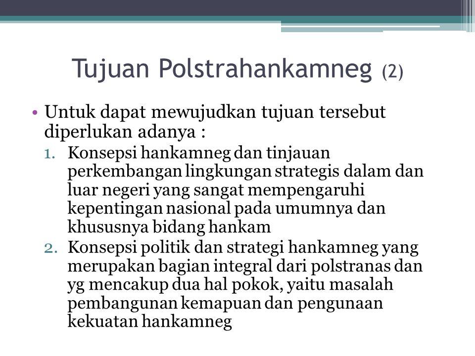 Tujuan Polstrahankamneg (2) Untuk dapat mewujudkan tujuan tersebut diperlukan adanya : 1.Konsepsi hankamneg dan tinjauan perkembangan lingkungan strat