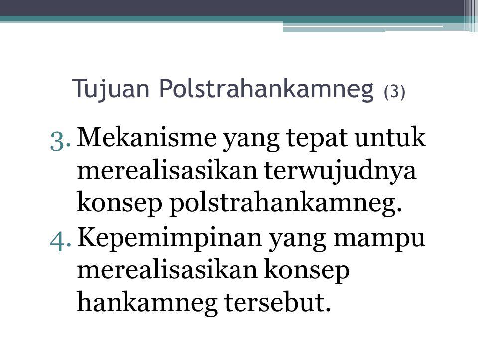 Tujuan Polstrahankamneg (3) 3.Mekanisme yang tepat untuk merealisasikan terwujudnya konsep polstrahankamneg. 4.Kepemimpinan yang mampu merealisasikan