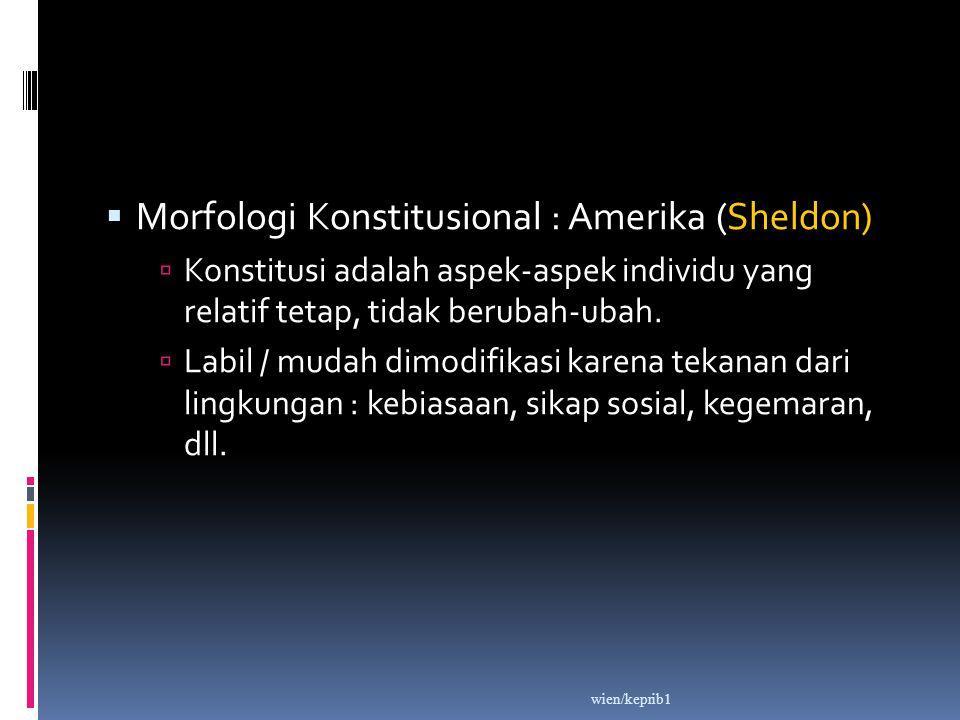  Morfologi Konstitusional : Amerika (Sheldon)  Konstitusi adalah aspek-aspek individu yang relatif tetap, tidak berubah-ubah.  Labil / mudah dimodi