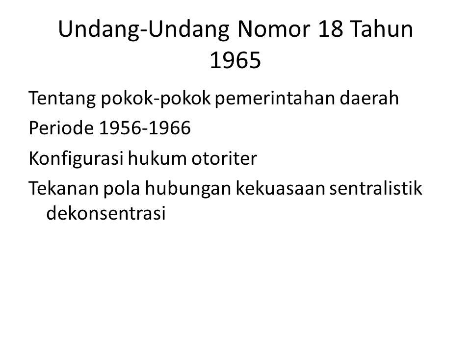 Undang-Undang Nomor 18 Tahun 1965 Tentang pokok-pokok pemerintahan daerah Periode 1956-1966 Konfigurasi hukum otoriter Tekanan pola hubungan kekuasaan