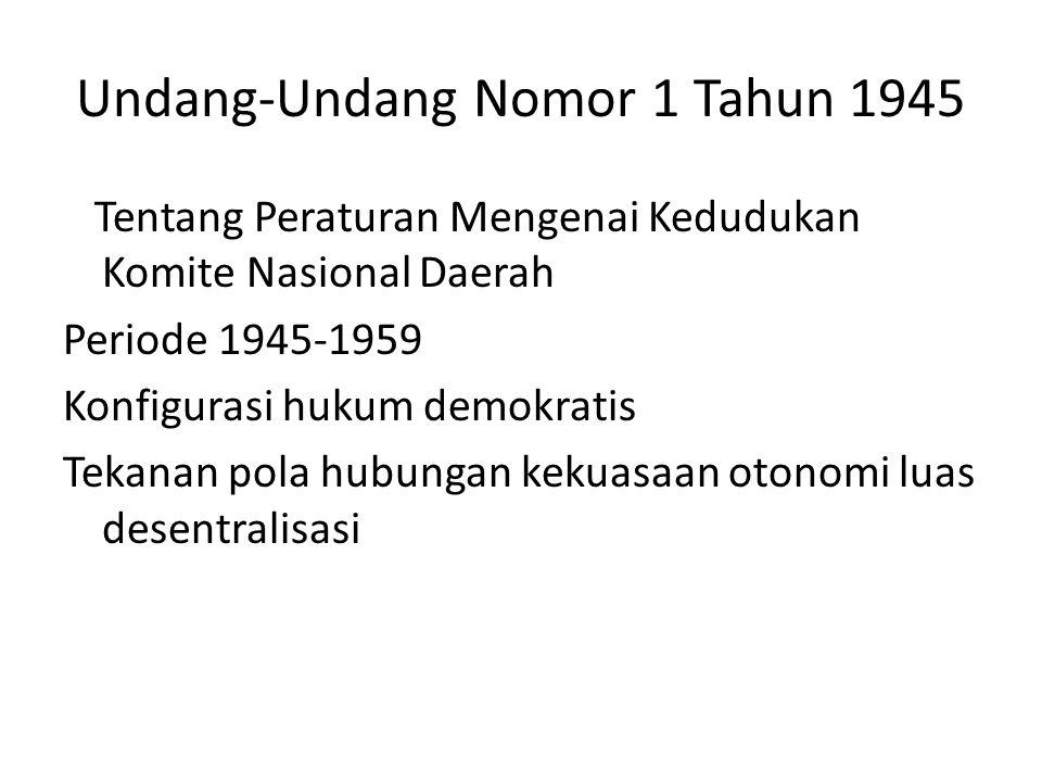 Undang-Undang Nomor 22 Tahun 1948 Tentang Pemerintahan Daerah Periode 1945-1959 Konfigurasi hukum demokratis Tekanan pola hubungan kekuasaan otonomi luas desentralisasi