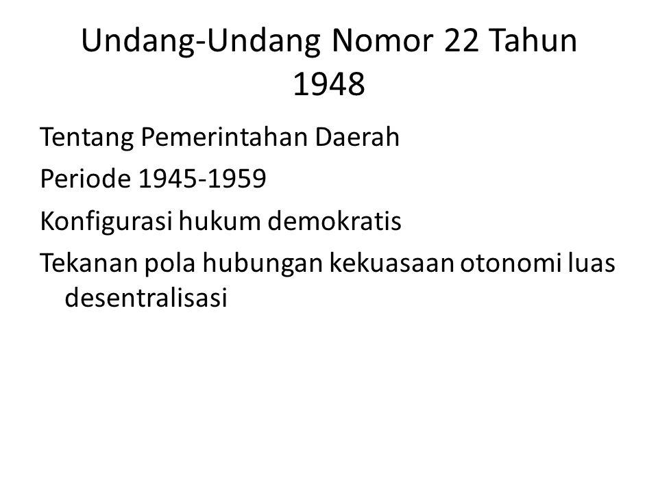 Undang-Undang Nomor 22 Tahun 1948 Tentang Pemerintahan Daerah Periode 1945-1959 Konfigurasi hukum demokratis Tekanan pola hubungan kekuasaan otonomi l