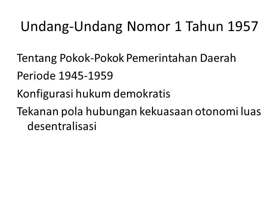 PENPRES Nomor 6 Tahun 1959 tentang Pemerintah Daerah Periode 1956-1966 Konfigurasi hukum otoriter Tekanan pola hubungan kekuasaan sentralistik dekonsentrasi