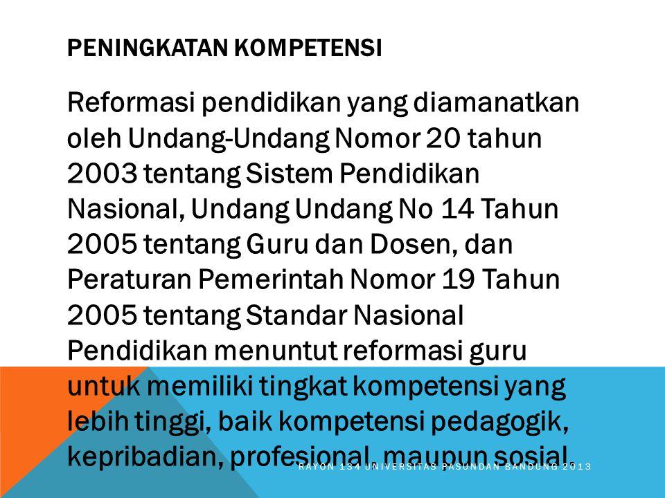 PENINGKATAN KOMPETENSI Reformasi pendidikan yang diamanatkan oleh Undang-Undang Nomor 20 tahun 2003 tentang Sistem Pendidikan Nasional, Undang Undang