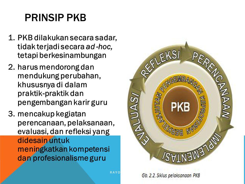 1.PKB dilakukan secara sadar, tidak terjadi secara ad ‐ hoc, tetapi berkesinambungan 2.harus mendorong dan mendukung perubahan, khususnya di dalam pra