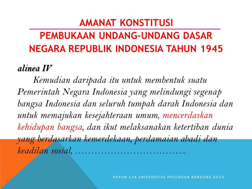 AMANAT KONSTITUSI PEMBUKAAN UNDANG-UNDANG DASAR NEGARA REPUBLIK INDONESIA TAHUN 1945 alinea IV Kemudian daripada itu untuk membentuk suatu Pemerintah