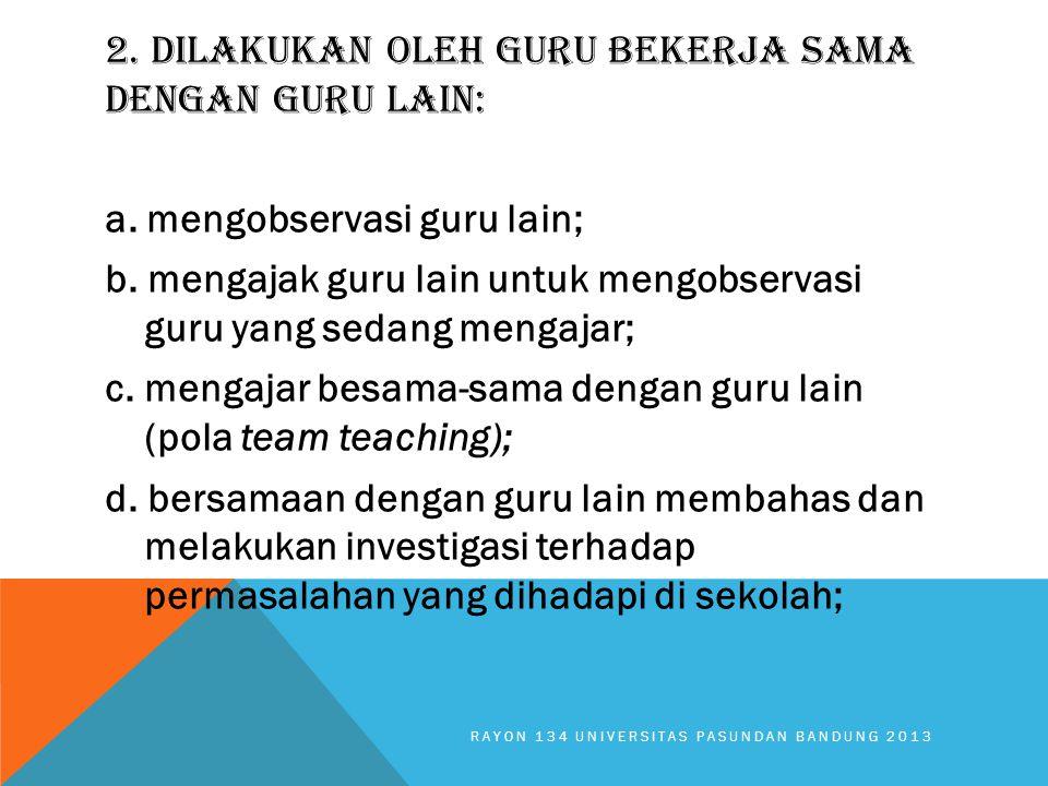 2. DILAKUKAN OLEH GURU BEKERJA SAMA DENGAN GURU LAIN: a. mengobservasi guru lain; b. mengajak guru lain untuk mengobservasi guru yang sedang mengajar;