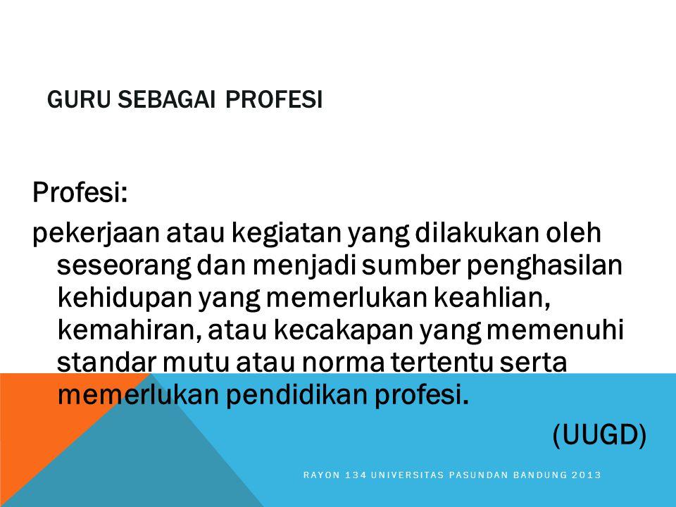 GURU SEBAGAI PROFESI Profesi: pekerjaan atau kegiatan yang dilakukan oleh seseorang dan menjadi sumber penghasilan kehidupan yang memerlukan keahlian,