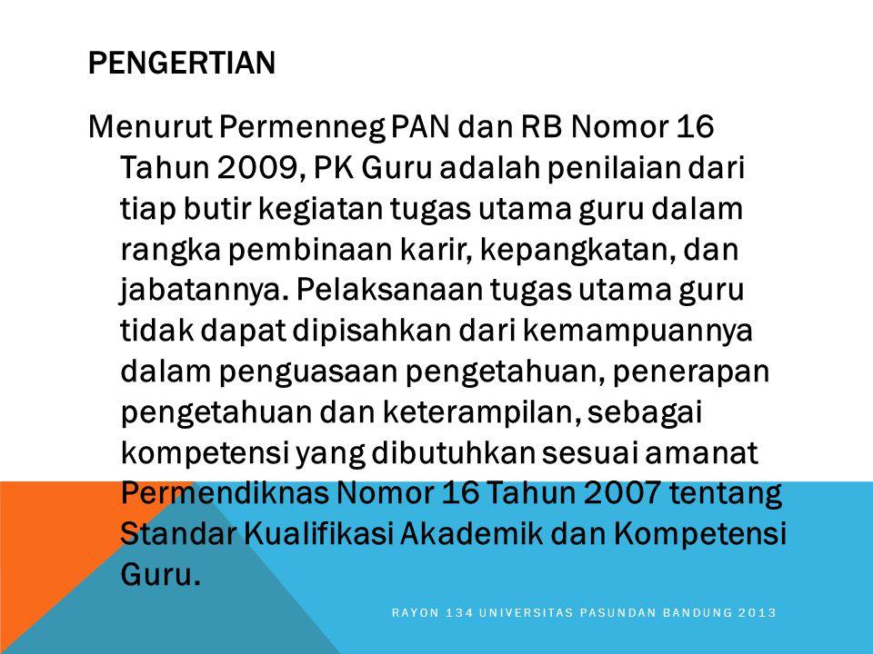 PENGERTIAN Menurut Permenneg PAN dan RB Nomor 16 Tahun 2009, PK Guru adalah penilaian dari tiap butir kegiatan tugas utama guru dalam rangka pembinaan