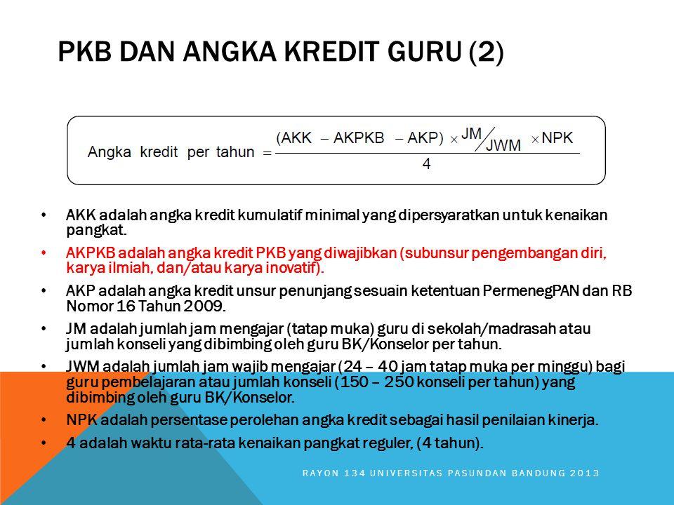 AKK adalah angka kredit kumulatif minimal yang dipersyaratkan untuk kenaikan pangkat. AKPKB adalah angka kredit PKB yang diwajibkan (subunsur pengemba