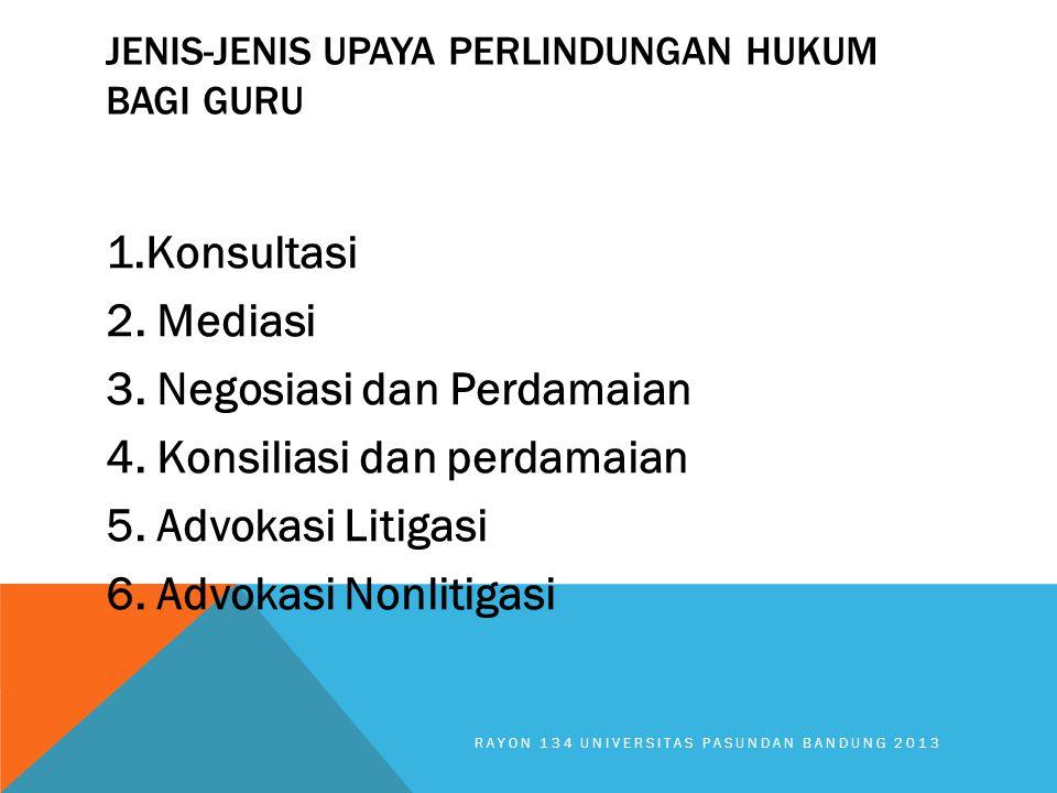 JENIS-JENIS UPAYA PERLINDUNGAN HUKUM BAGI GURU 1.Konsultasi 2. Mediasi 3. Negosiasi dan Perdamaian 4. Konsiliasi dan perdamaian 5. Advokasi Litigasi 6