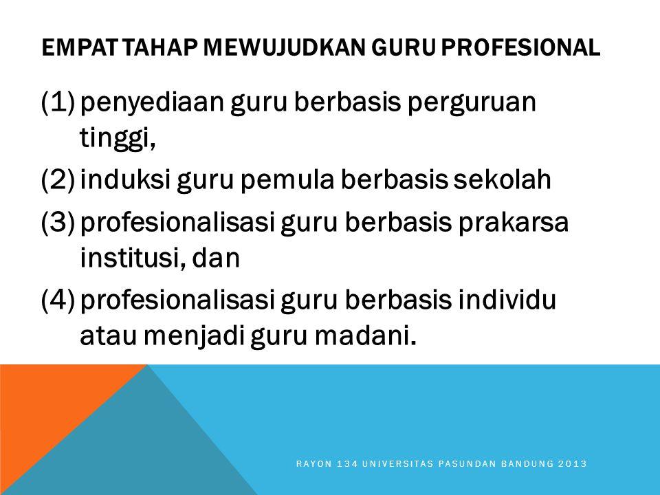 EMPAT TAHAP MEWUJUDKAN GURU PROFESIONAL (1)penyediaan guru berbasis perguruan tinggi, (2)induksi guru pemula berbasis sekolah (3)profesionalisasi guru