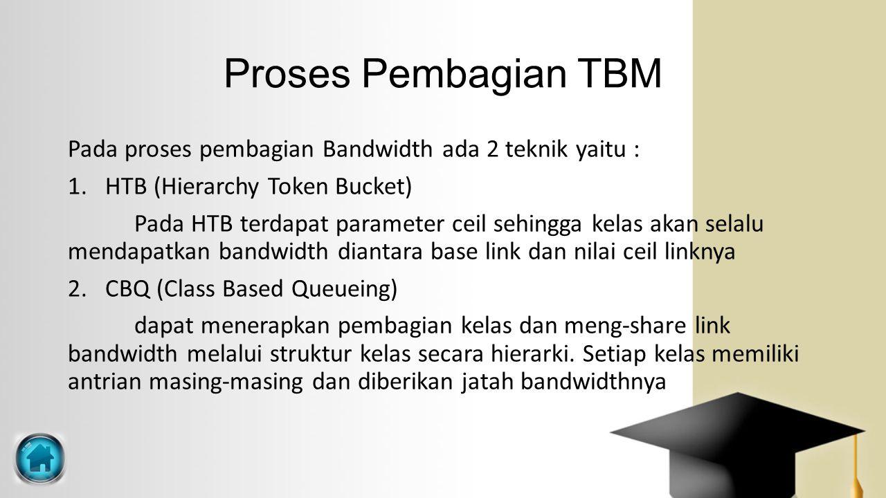 Proses Pembagian TBM Pada proses pembagian Bandwidth ada 2 teknik yaitu : 1.HTB (Hierarchy Token Bucket) Pada HTB terdapat parameter ceil sehingga kel