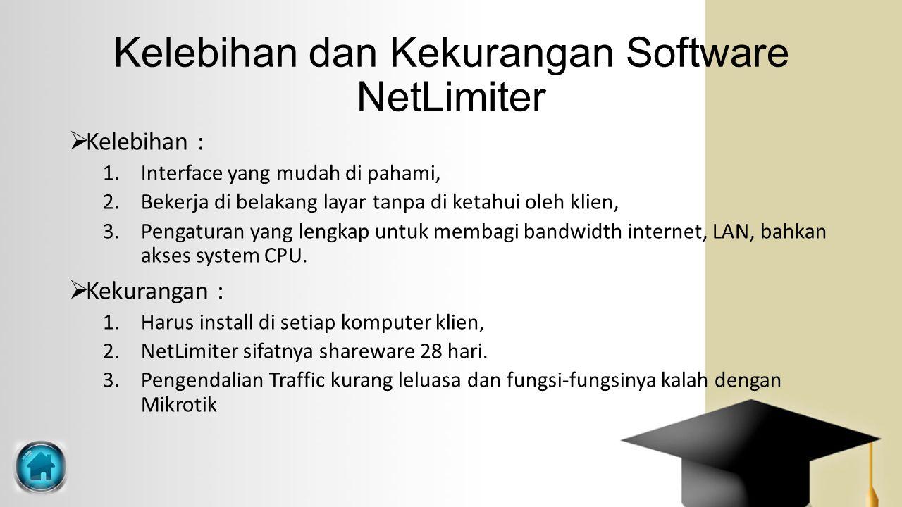 Kelebihan dan Kekurangan Software NetLimiter  Kelebihan : 1.Interface yang mudah di pahami, 2.Bekerja di belakang layar tanpa di ketahui oleh klien,