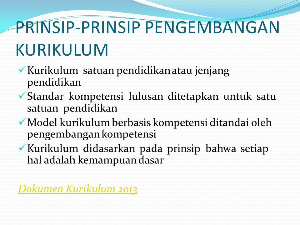 PRINSIP-PRINSIP PENGEMBANGAN KURIKULUM Kurikulum satuan pendidikan atau jenjang pendidikan Standar kompetensi lulusan ditetapkan untuk satu satuan pendidikan Model kurikulum berbasis kompetensi ditandai oleh pengembangan kompetensi Kurikulum didasarkan pada prinsip bahwa setiap hal adalah kemampuan dasar Dokumen Kurikulum 2013