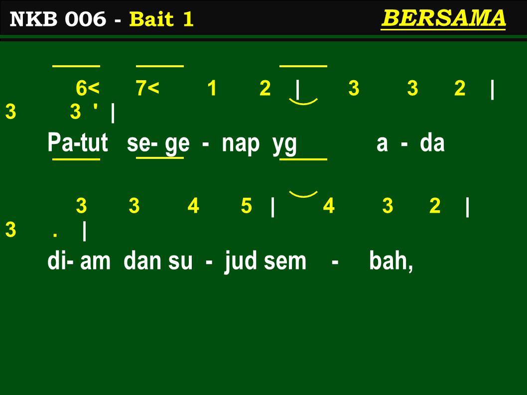 6< 7< 1 2 | 3 3 2 | 3 3 | Pa-tut se- ge - nap yg a - da 3 3 4 5 | 4 3 2 | 3.