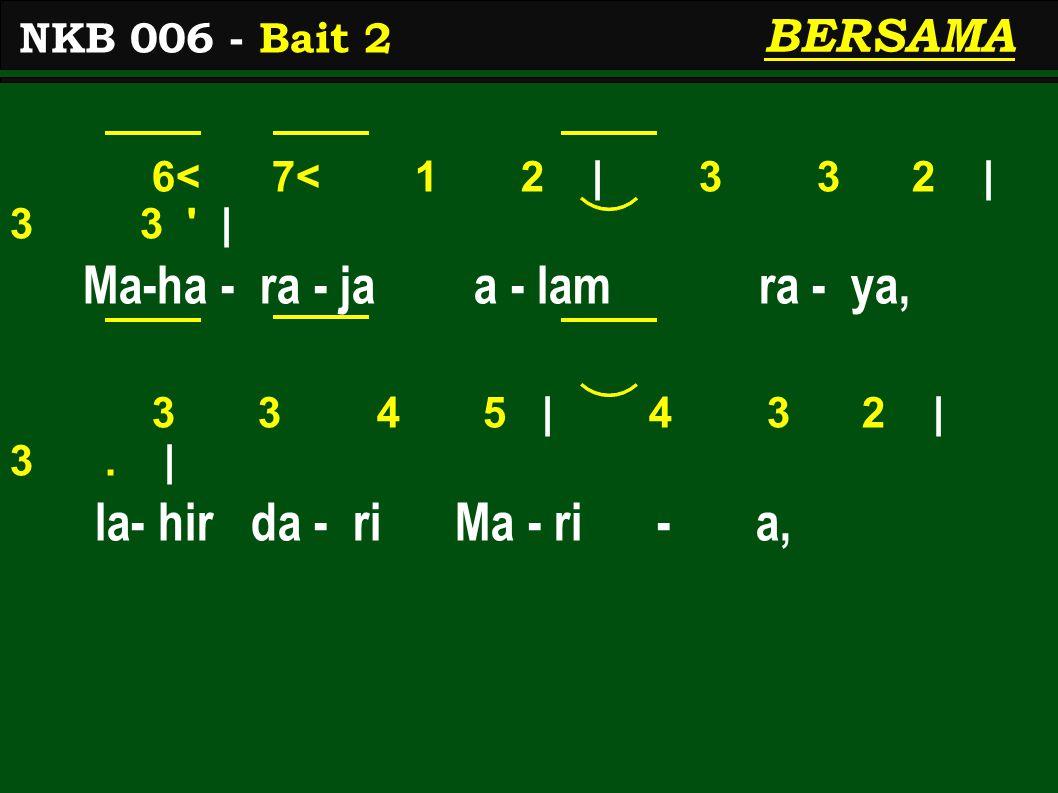 6< 7< 1 2 | 3 3 2 | 3 3 | Ma-ha - ra - ja a - lam ra - ya, 3 3 4 5 | 4 3 2 | 3.