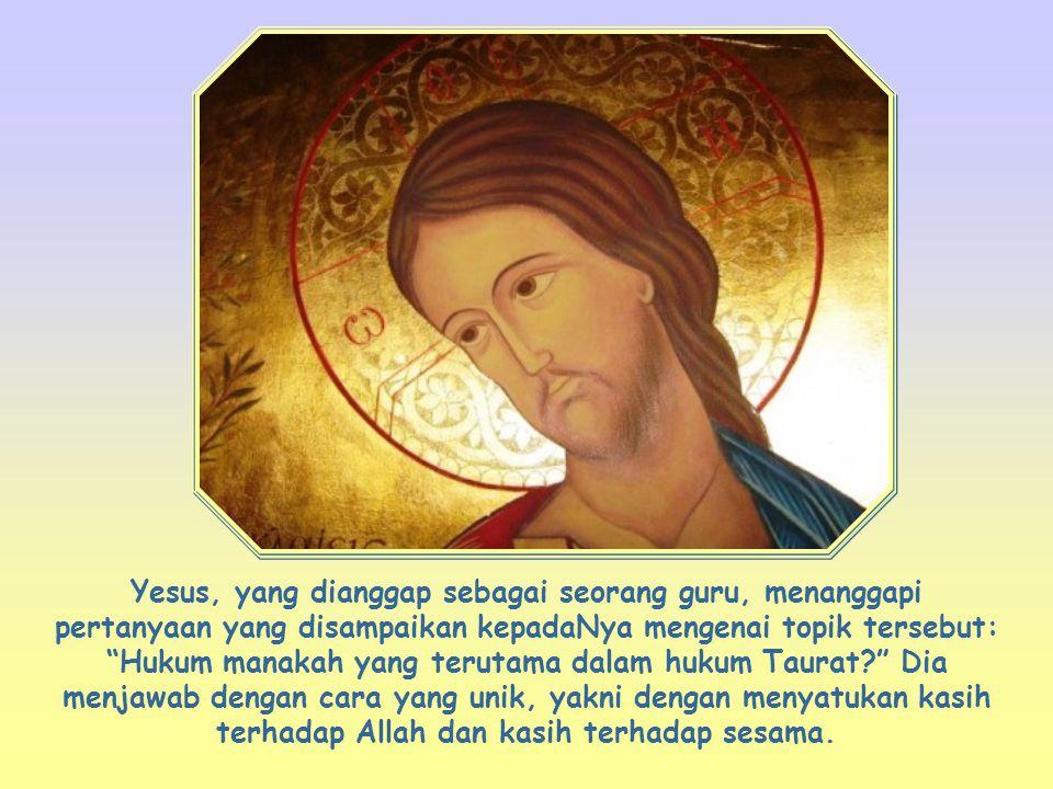 Yesus juga meminta kepada kita hal yang sama: mengasihi berarti melakukan kehendak Sang Kekasih, bukan separuh hati saja, melainkan dengan segenap diri kita: dengan segenap hati, dengan segenap jiwa dan dengan segenap akal budi .
