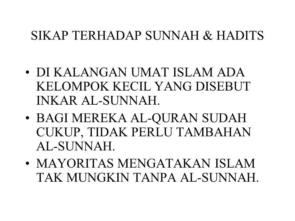 SIKAP TERHADAP SUNNAH & HADITS DI KALANGAN UMAT ISLAM ADA KELOMPOK KECIL YANG DISEBUT INKAR AL-SUNNAH. BAGI MEREKA AL-QURAN SUDAH CUKUP, TIDAK PERLU T