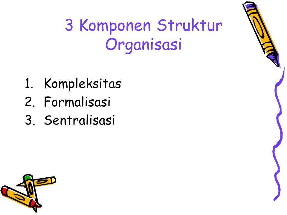 3 Komponen Struktur Organisasi 1.Kompleksitas 2.Formalisasi 3.Sentralisasi
