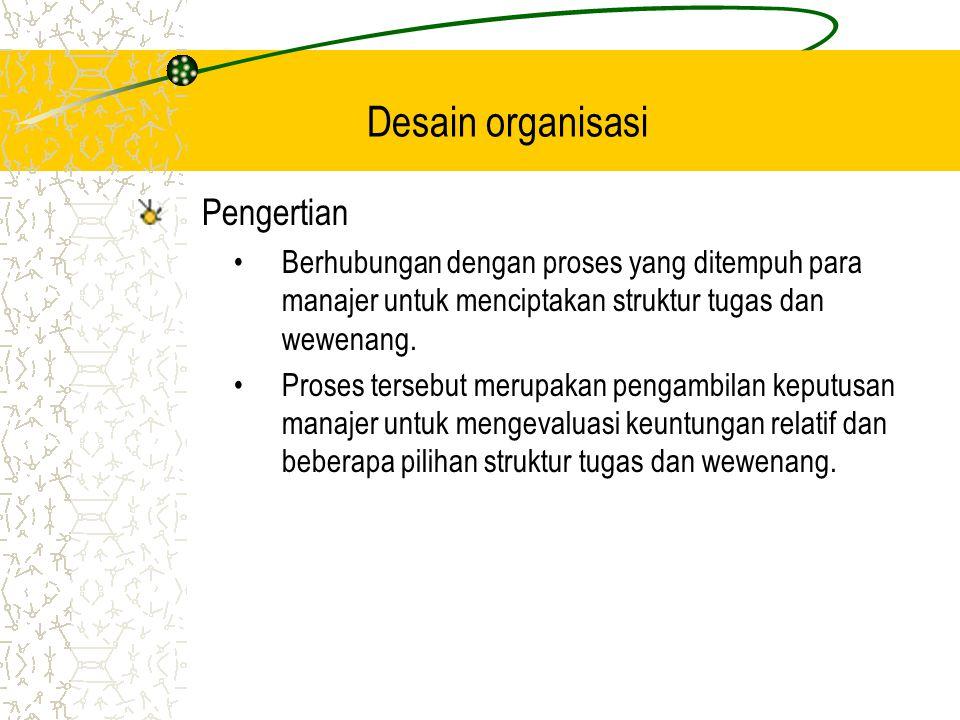 Pengertian Berhubungan dengan proses yang ditempuh para manajer untuk menciptakan struktur tugas dan wewenang.