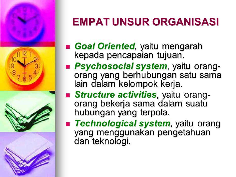 EMPAT UNSUR ORGANISASI Goal Oriented, yaitu mengarah kepada pencapaian tujuan.