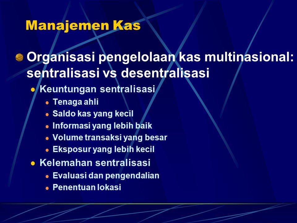 Manajemen Kas Organisasi pengelolaan kas multinasional: sentralisasi vs desentralisasi Keuntungan sentralisasi Tenaga ahli Saldo kas yang kecil Inform