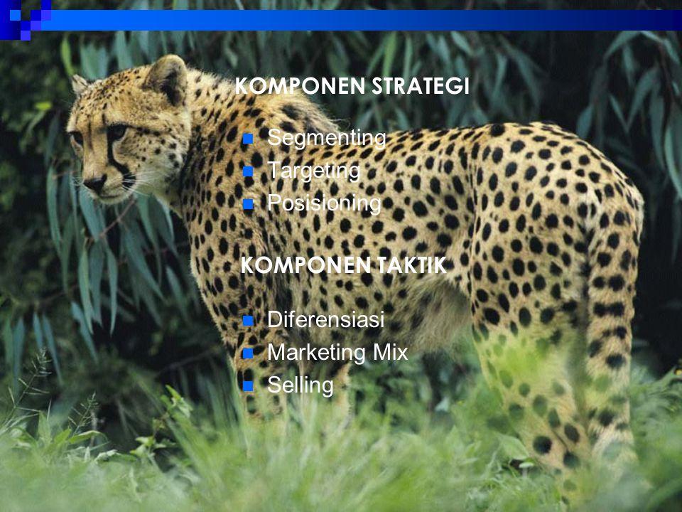 KOMPONEN TAKTIK Segmenting Targeting Posisioning KOMPONEN STRATEGI Diferensiasi Marketing Mix Selling