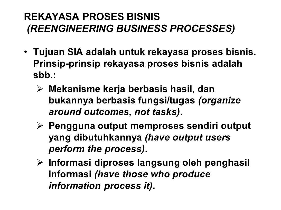 REKAYASA PROSES BISNIS (REENGINEERING BUSINESS PROCESSES) Tujuan SIA adalah untuk rekayasa proses bisnis. Prinsip-prinsip rekayasa proses bisnis adala