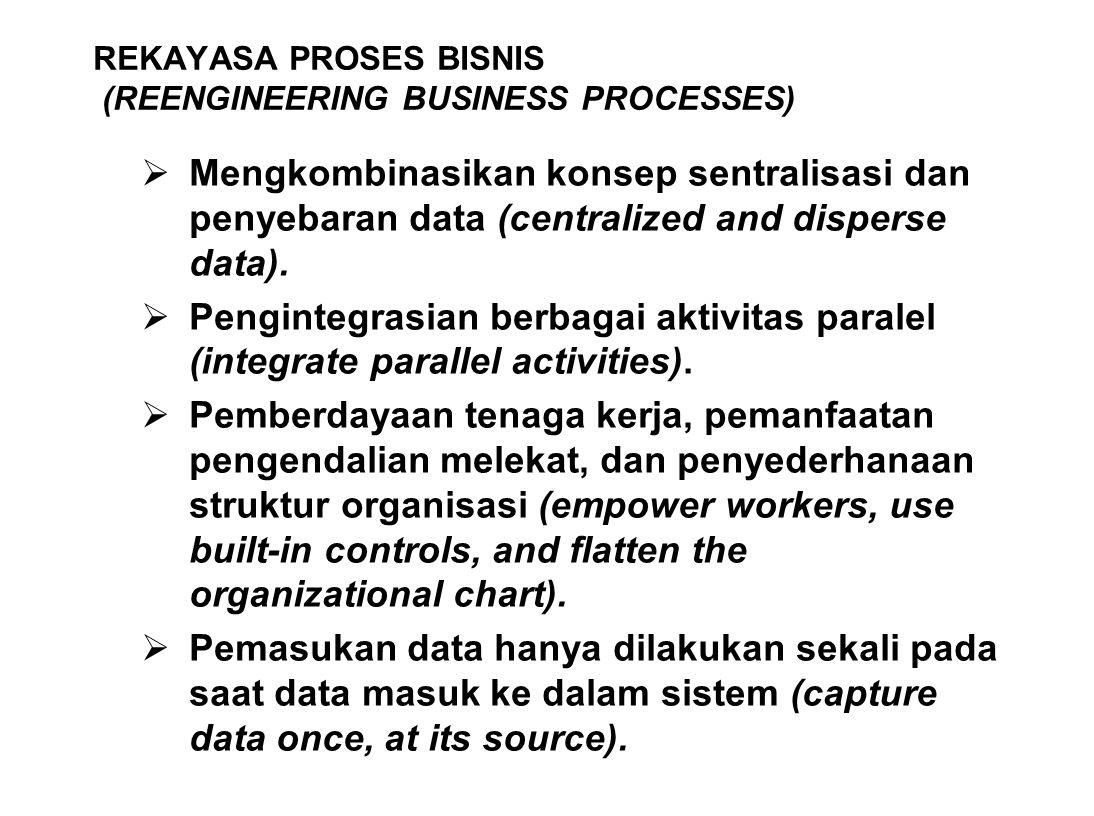 REKAYASA PROSES BISNIS (REENGINEERING BUSINESS PROCESSES)  Mengkombinasikan konsep sentralisasi dan penyebaran data (centralized and disperse data).
