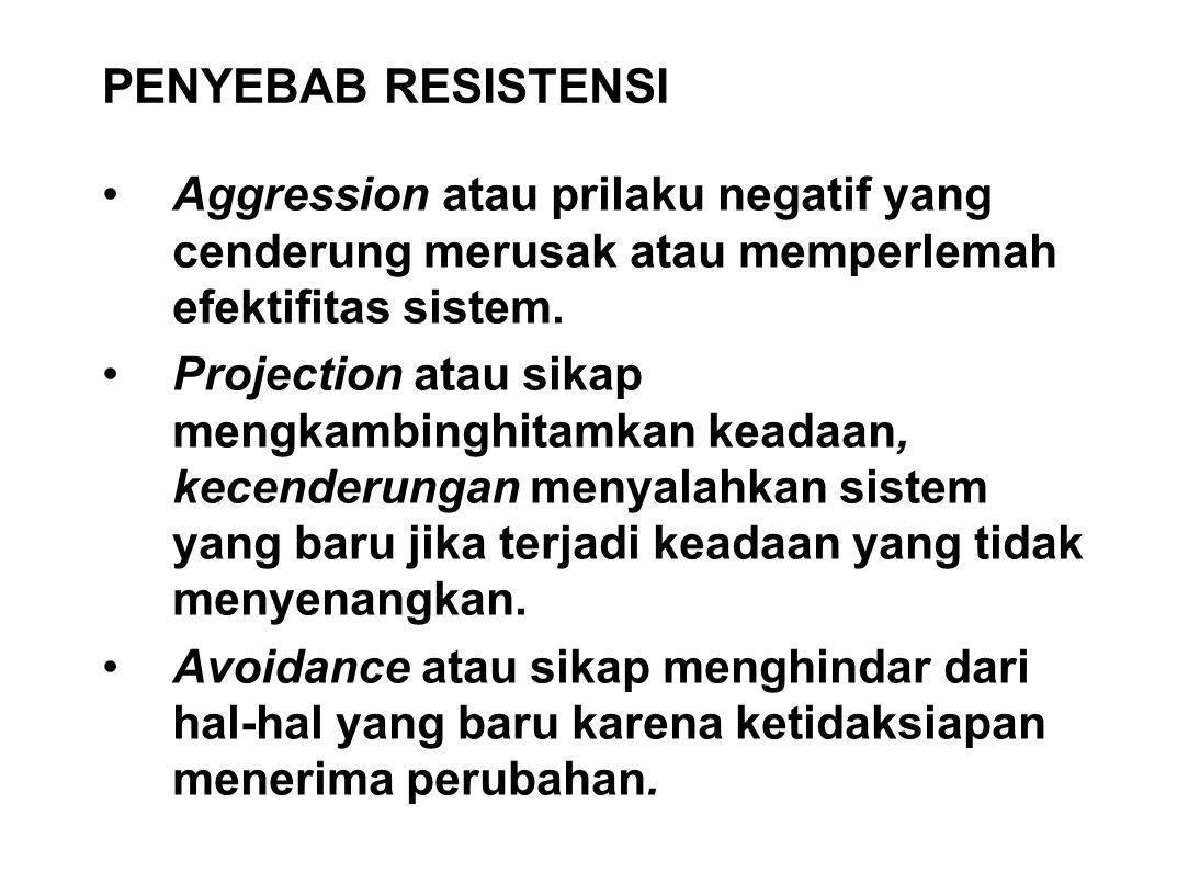 PENYEBAB RESISTENSI Aggression atau prilaku negatif yang cenderung merusak atau memperlemah efektifitas sistem. Projection atau sikap mengkambinghitam