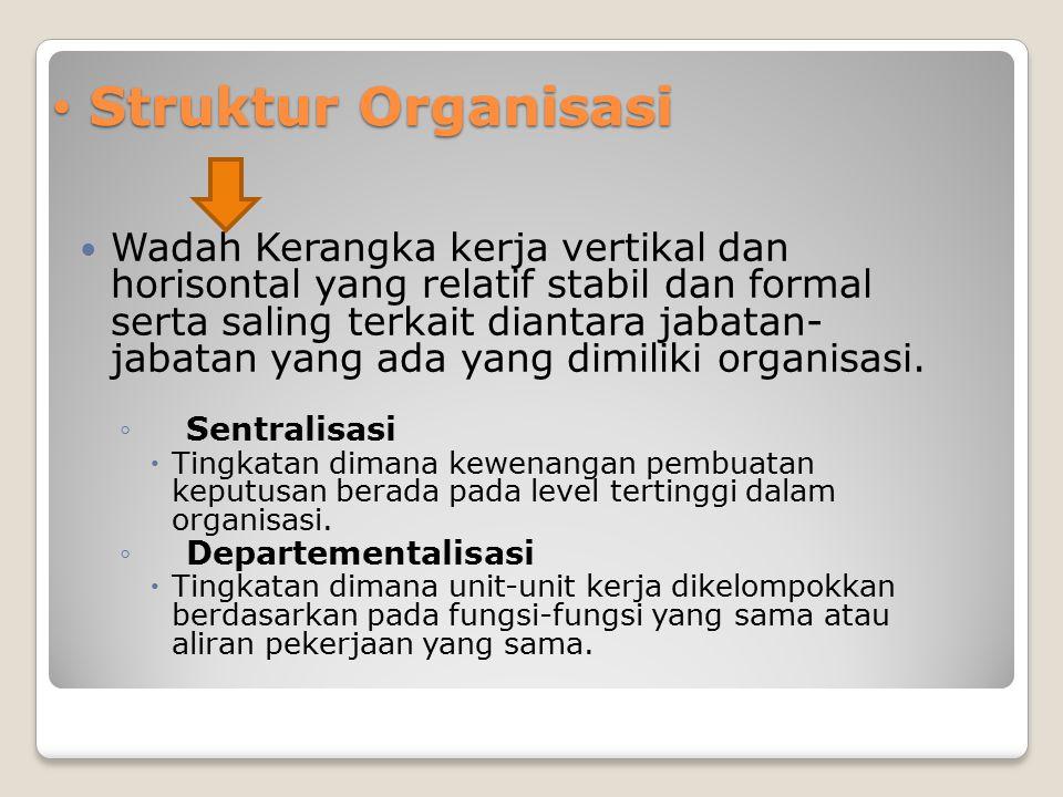 Struktur Organisasi Struktur Organisasi Wadah Kerangka kerja vertikal dan horisontal yang relatif stabil dan formal serta saling terkait diantara jaba